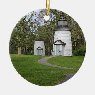 Three sisters lighthouses round ceramic decoration