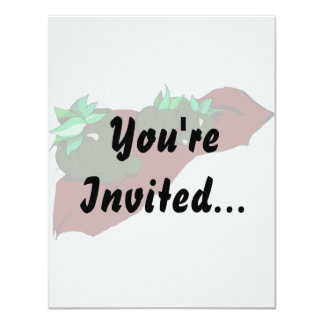 Three small green peppers on cloth graphic 11 cm x 14 cm invitation card