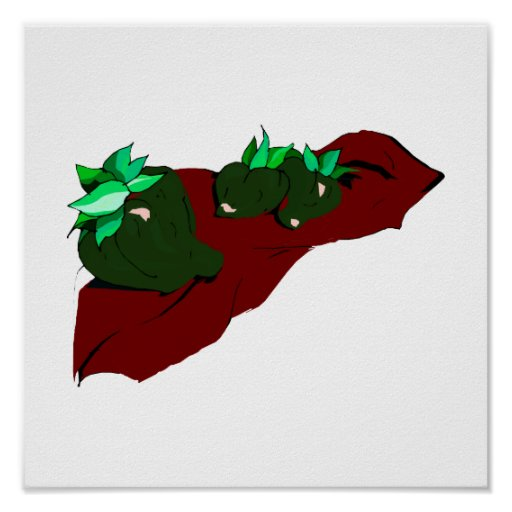 Three small green peppers on cloth graphic print
