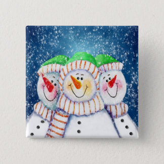 Three Smiling Snowmen Button