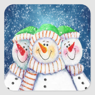 Three Smiling Snowmen Stickers