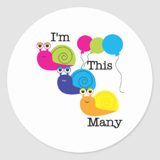 Three Snails I'm  This Many Classic Round Sticker