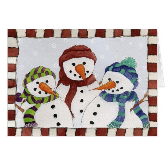 Three Snowmen Card