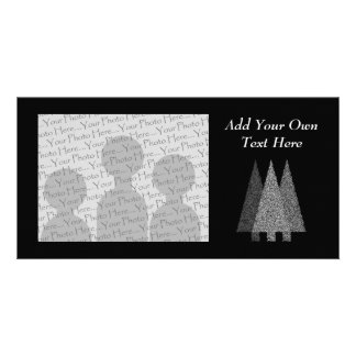 Three Snowy Christmas Trees. Black White. Picture Card