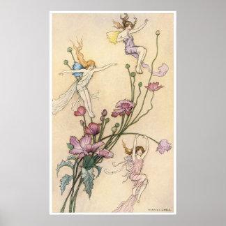 Three Sprites Mad with Joy Print by Warwick Goble