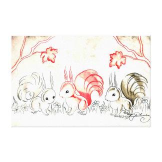 Three Squirrels Stretched Canvas Print