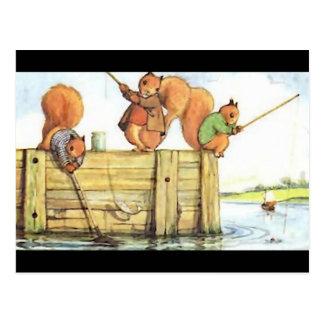 Three Squirrels Fishing Postcard