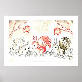 Three Squirrels Poster