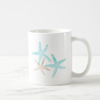 Three Starfish Teal and Tan Coffee Mug