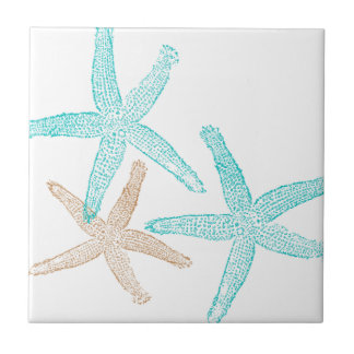 Three Starfish Teal and Tan Tile