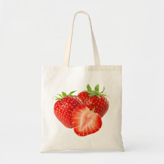 Three strawberries budget tote bag