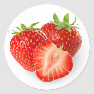 Three strawberries classic round sticker
