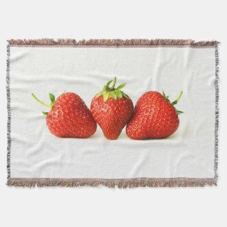 Three Strawberries On White (H) Throw Blanket