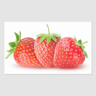 Three strawberries rectangular sticker