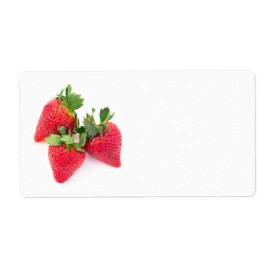 Three strawberries shipping label