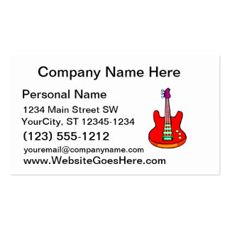 Three Stringed Bass Guitar Image Graphic Pack Of Standard Business Cards