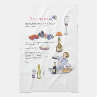 three stripes cocktail bar towel