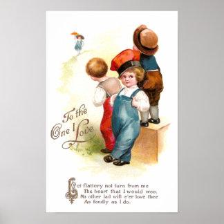 Three Suitors Vintage Valentine Poster