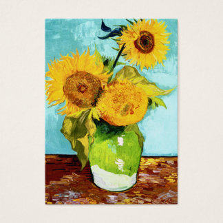 Three Sunflowers by Van Gogh Chubby Business Card