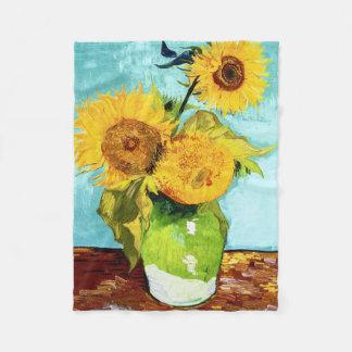 Three Sunflowers by Van Gogh Fine Art Fleece Blanket