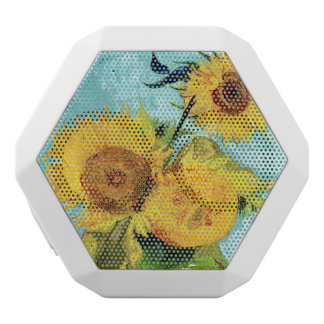 Three Sunflowers by Van Gogh Fine Art White Bluetooth Speaker