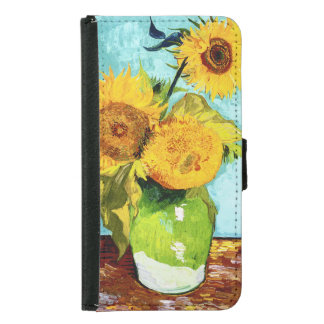 Three Sunflowers by Van Gogh S5 Wallet Cases