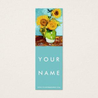 Three Sunflowers by Van Gogh Skinny Mini Business Card