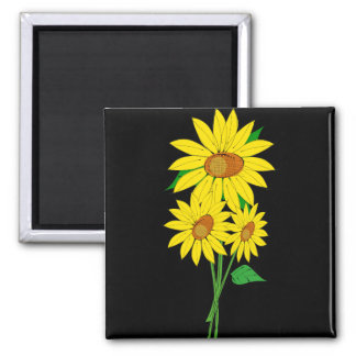Three Sunflowers Square Magnet