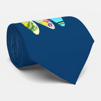 Three Surfboards Navy Blue Tie