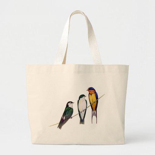 Three Swallows Tote Bags