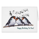 Three Swallows Singing Happy Birthday: Oil Pastel Greeting Card