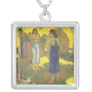 Three Tahitian Women against a Yellow Silver Plated Necklace