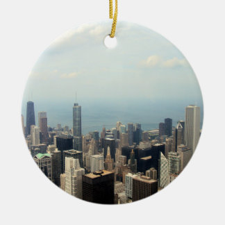 Three Tall Buildings Viewed From Sears Tower Round Ceramic Decoration