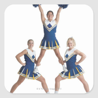 three teenage caucasian female cheerleaders in square sticker