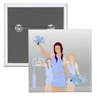 Three teenage cheerleaders holding pom poms 15 cm square badge