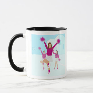 Three teenage cheerleaders holding pom poms 2 mug