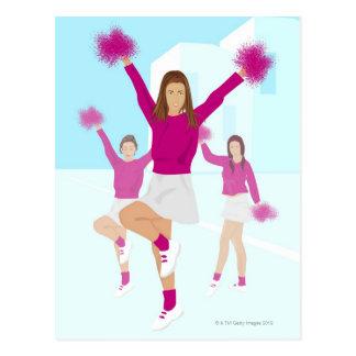 Three teenage cheerleaders holding pom poms 2 postcard