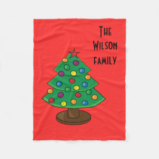Three Tier Christmas Tree Fleece Blanket