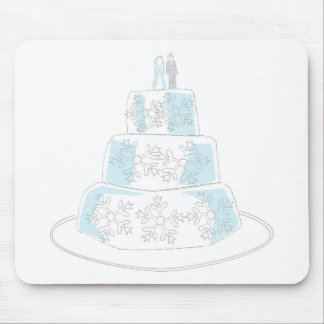 Three Tiered Wedding Cake with Snowflake Trim Mouse Mat