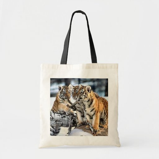 Three Tiger Cubs In Snow Art Gifts Tote Bag