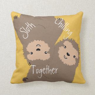 Three Toed Sloth Chilling Together Illustration Cushion