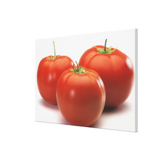 Three tomatoes on counter, close-up canvas print