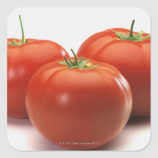 Three tomatoes on counter close-up square stickers