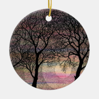 Three Trees on a Pink Watercolor Background Christmas Ornament