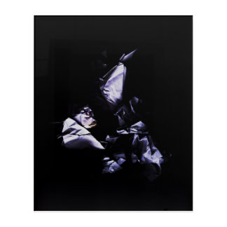 Three. Triple Modern Art Purple Composition