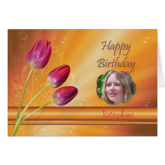 Three tulips Photo birthday card