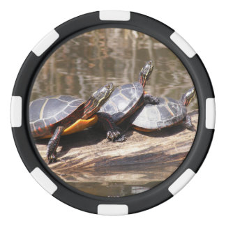 Three Turtles Sitting On A Log Poker Chip