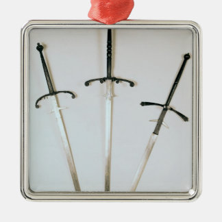 Three two-handed swords, 1570 Silver-Colored square decoration