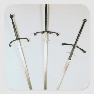 Three two-handed swords, 1570 square sticker