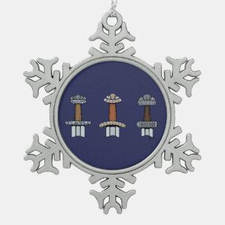 Three Viking Sword Hilts Snowflake Pewter Christmas Ornament